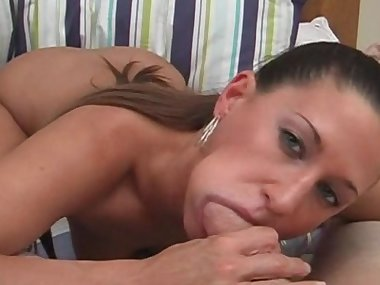 Small-tit mom is swallowing some cum
