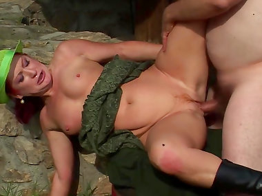 Stunning granny Granny is sucking dick outdoors