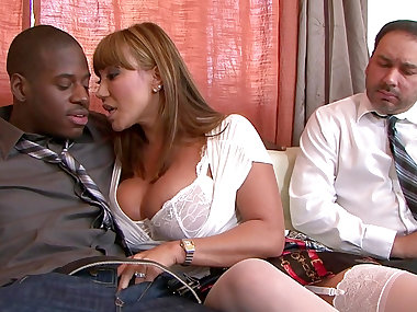 Cock-sucking Ava Devine and black Julius Ceazher