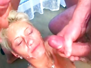 Gangbang mom is swallowing juicy loads