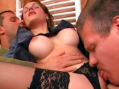 Gal with fake tits gets double penetration in..