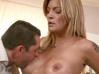 Spicy smiling blonde was fucked in her asshole
