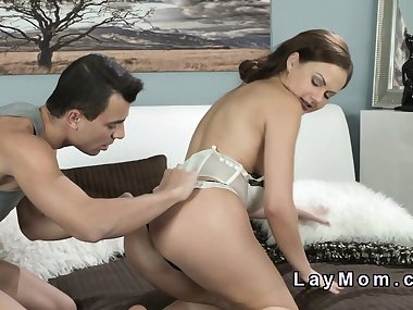 Sexy mom in lingerie gets anal banged
