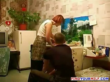 Russian readhead mature mother and son