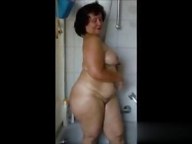 fat ass slut has a nasty shower