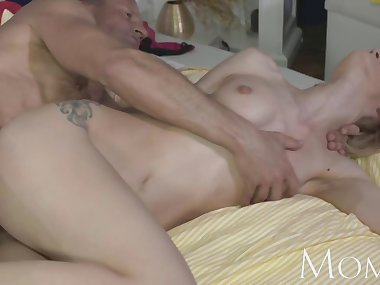 MOM Experienced stud slides his hard cock deep inside a hot wet..